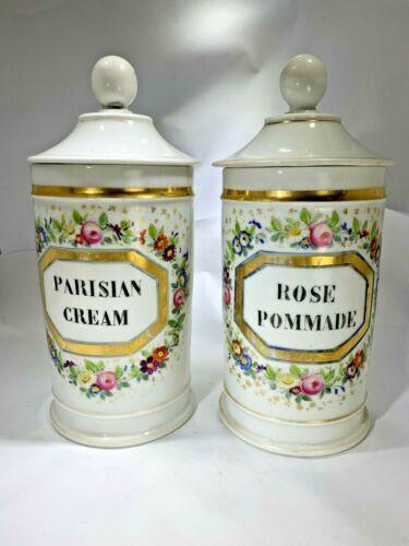Antique 2 Paris Apothecary Jars H Vignier France. Parisian Cream & Rose Pommade