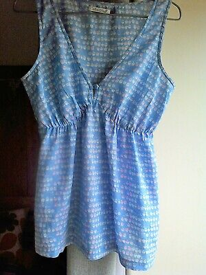 WHITE STUFF CUPCAKE BLUE COTTON VOILE SUN TOP VEST SIZE 10 IN LOVELY CONDITION