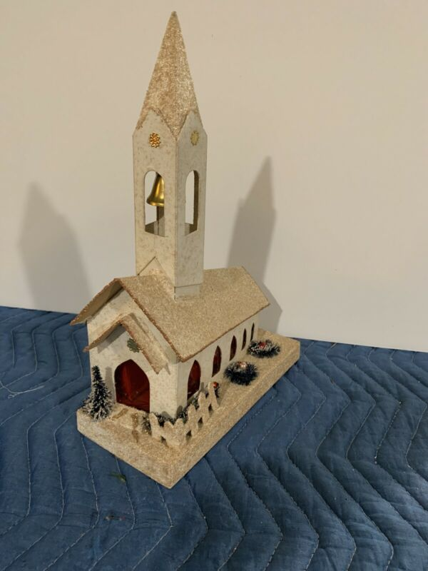 Vintage Putz ? Cardboard Christmas Church Japan Plays Silent Night Battery.