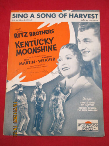 Sing A Song Of Harvest  KENTUCKEY MOONSHINE  Sheet Music THE RITZ BROTHERS