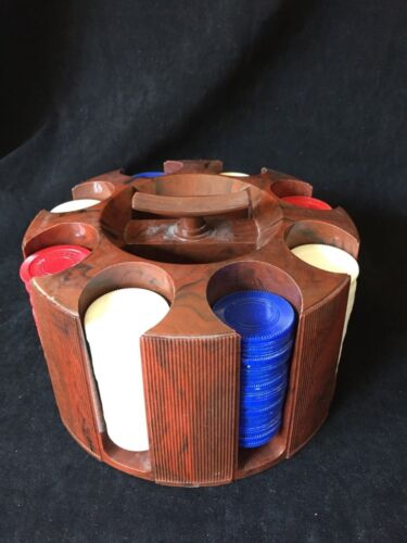 Poker - Gaming Chips in Holder - Rotating - Plastic- Vintage