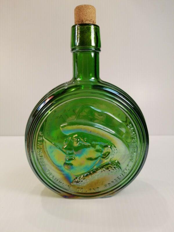 Vintage Large Wheaton Green GLASS Franklin D. Roosevelt Bottle