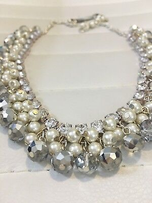 Pearl Cluster Drop Necklace - New Cezanne Rhinestone & Glass Bead & Pearl Cluster Statement Silver Necklace