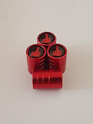RED MIDDDLE FINGER DELUXE Valve Alloy wheel dust Caps All car models CHEVROLET