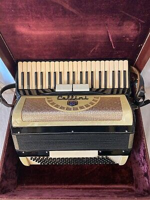 Vintage Cellini Accordion & Case Black White Pearl Italy, 364/99 Plays