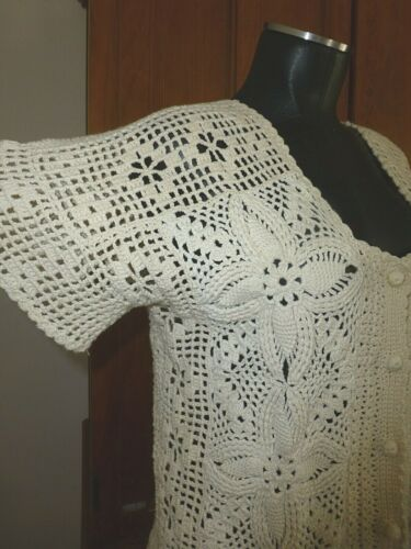 VTG Hand Knit Crochet Lace Ivory Cotton Boho Short Slv SWEATER cardigan TOP