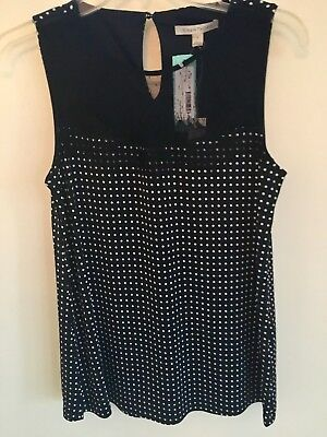 41 Hawthorn Stitch Fix Klementine Dot Lace Detail Black Knit Top Size S  Nwt