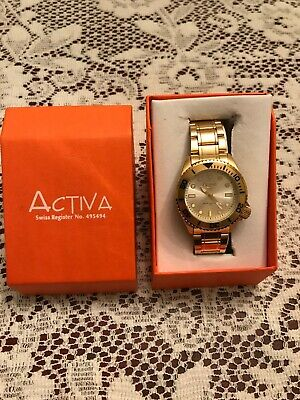 ACTIVIA New Quartz Men Watch Gold Toned Steel Swiss Movement Water Resistant