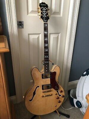 epiphone sheraton ii pro natural smooth action with hard case
