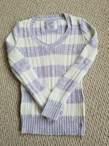 JUSTICE PURPLE WHITE STRIPE SWEATER SZ 20 JUNIORS KNIT V NECK LONG SLEEVE