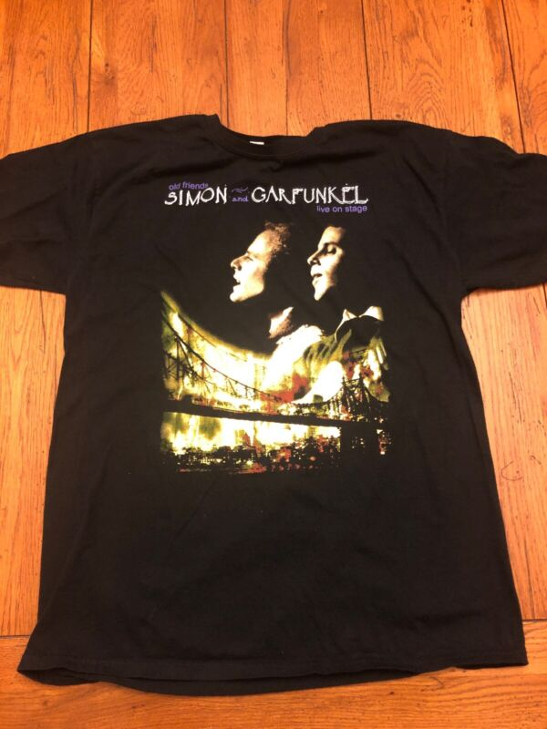 Simon And Garfunkel Old Friends Live On Stage Concert Tour Black Shirt Size L