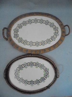 27603 2x altes Tablett 1926  Art Deco Keramik Tray  Dec 4080