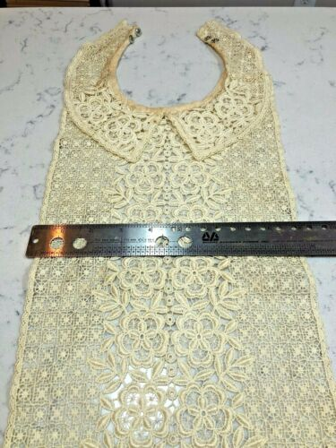 Vintage Victorian Era Jabot Collar Dickie; Hand Crocheted Ivory Lace