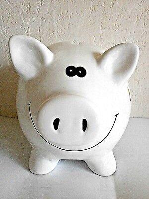 großes weißes KERAMIK-Sparschwein *HOCHZEIT* bemalt mit schönem Gesicht,NEU!!!!