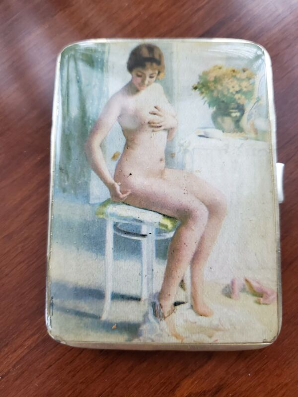 Birmingham 1930 English Sterling Silver Cigarette Box Card Case With Nude Woman