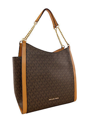 Michael Kors Newbury Studded Medium Chain Shoulder Tote Brown MK Acorn