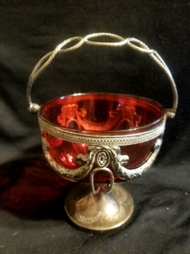 RARE OLD CRANBERRY GLASS BRIDES BASKET BOWL FANCY HANDLE SILVER PLATE SWAG STAND