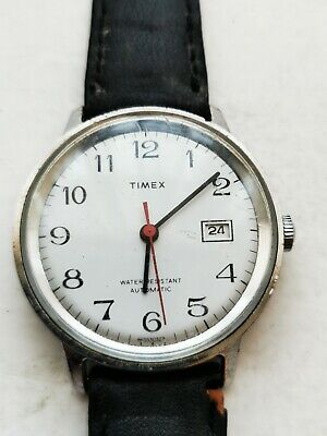 Vintage Mens Timex Viscount Automatic Watch White Dial 1976. Working