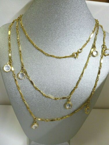 Gorgeous Gold Tone Chain Dangling Clear Bezel Set Glass Crystal Necklace