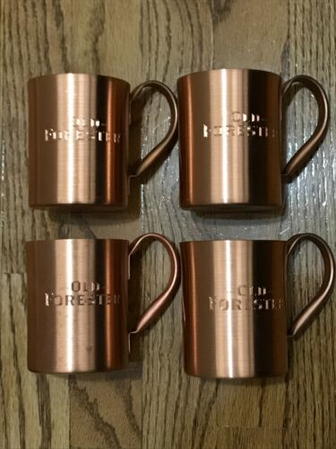 Old Forester 1870 Bourbon Whiskey Promotional Advertising Copper Cup Set of 4