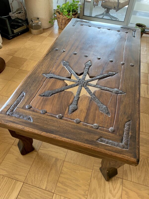 1800's Antique Walnut & Wrought Iron Medieval Coffee Table