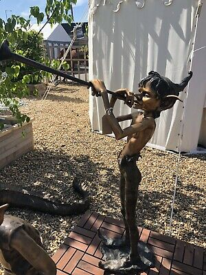Bronze Goblin Playing Horn Elf Trumpet Pixi Garden Bronze