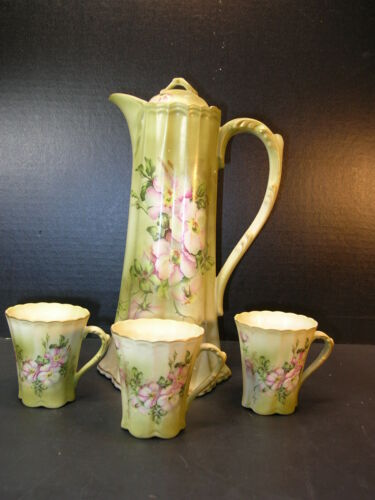 Nippon Dogwood Pattern Green Hand-Painted Chocolate Set Lidded Pot & 3 cups