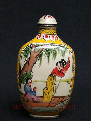 Collect Chinese Old Copper Cloisonne Painitng Belle Boating stroll Snuff Bottle