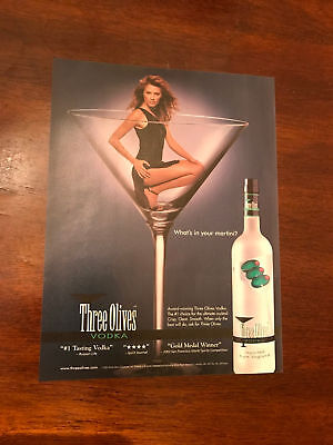 2003 VINTAGE 8X10 PRINT Ad FOR THREE OLIVES VODKA SEXY GIRL IN MARTINI GLASS