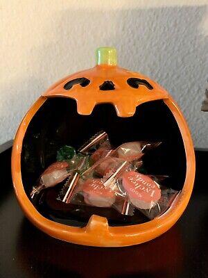 Halloween Ceramic Pumpkin Jack O' Lantern Candy Bowl Dish