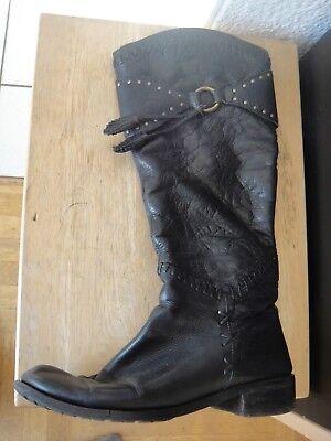 Stiefel für Damen Schwarz Leder Größe EU 36 (Schwarze Stiefel Für Damen)