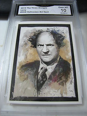 LARRY FINE 2015 CHRONICLES OF THE THREE 3 STOOGES HALLOWEEN ART GRADED 10 A - Three Stooges Halloween