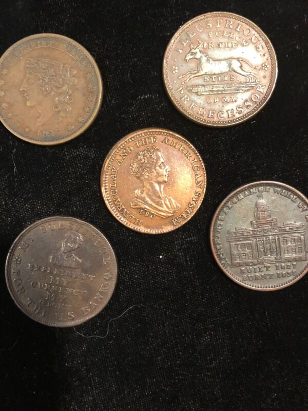 NICE GROUP OF HARD TIMES TOKENS  (  FIVE ) INCLUDING HENRY CLAY POLITICAL TOKEN