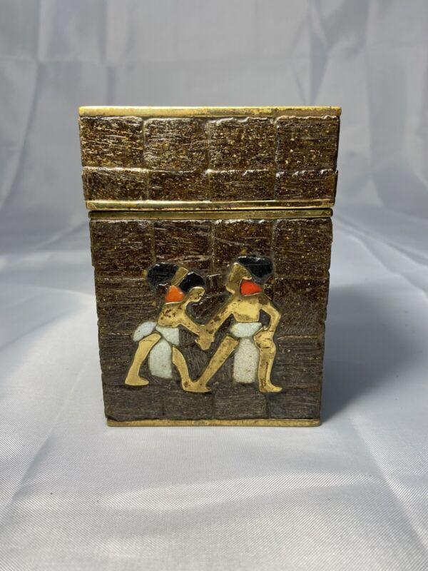 Vintage Salvador Teran Brown Mosaic Glass Tile Quetzalcoatl Brass Box Mexico