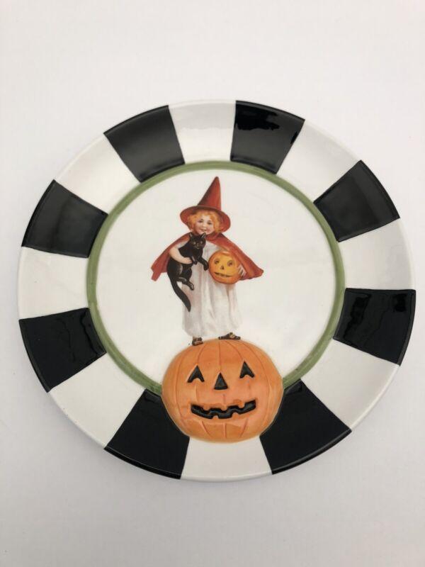 """Department 56 Halloween 8"""" Dessert Plate Victorian Witch Pumpkin Decor Dept EUC"""