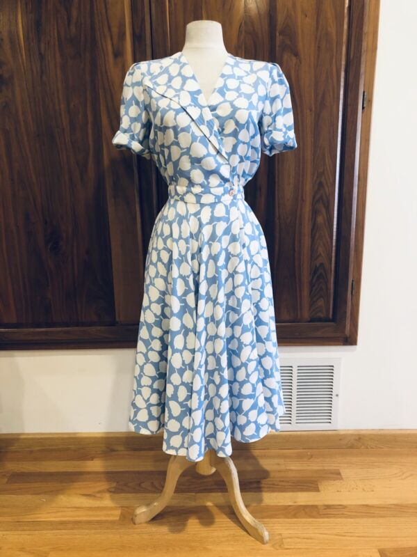 Womens Vintage Axiom Blue White Floral Tulip 80's Does 50's Swing Wrap Day Dress
