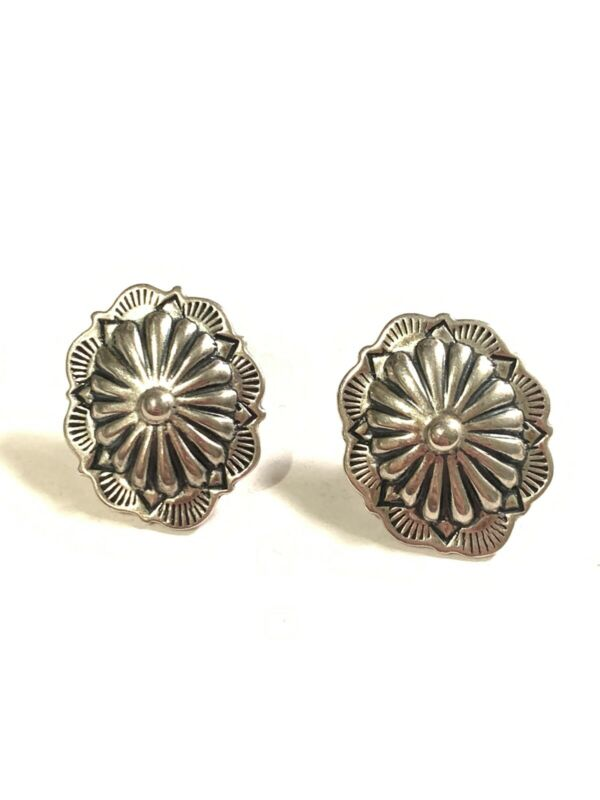 C. Sydney Smith Southwest Sterling Stamped Concho Earrings