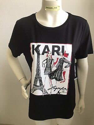 Karl Lagerfeld Paris Size Large NWT Black Eiffel/Fashion Tower Graphic T-Shirt