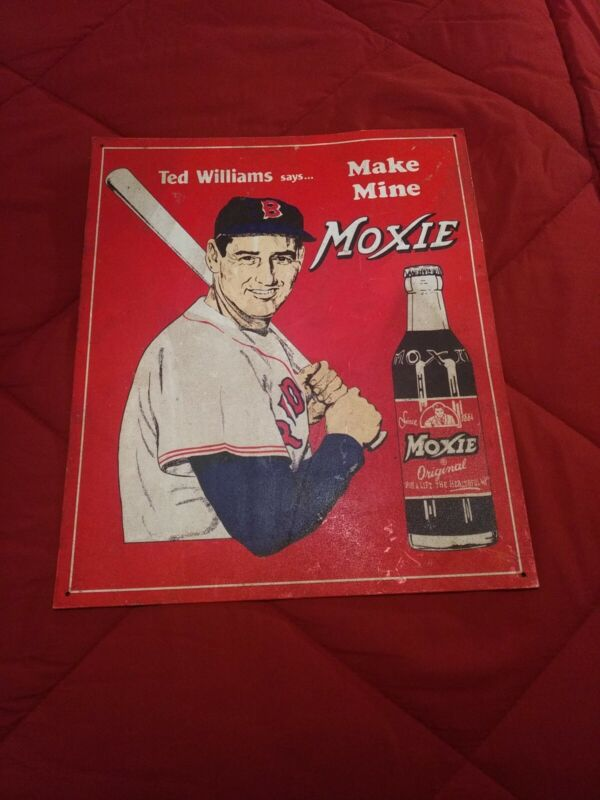 VINTAGE COLLECTIBLE TED WILLIAMS MOXIE ADVERTISING SODA 13 X15.5 In METAL SIGN