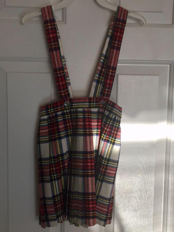 Vintage Lord & Taylor Kids Girls Tartan Plaid Skirt Suspenders Made England 6x