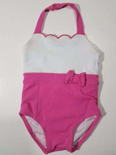 Janie & Jack One Piece Swimsuit ~ Pink White Scalloped Halter ~ Size 18-24M