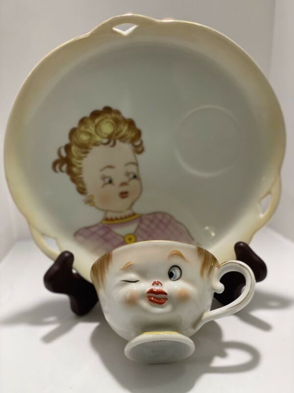 Vintage Antique Mr And Mirs Tea Cup And Sucers Set Winking Man Woman