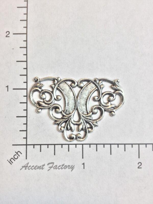 24654       2 Pc. Matte Silver Oxidized Filigree Ornament Jewelry Finding