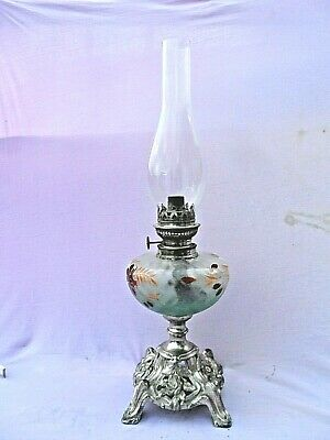 OLD SILVERED CAST METAL FOOTED BASE DECORATED CLEAR GLASS RESERVOIR OIL LAMP VGC