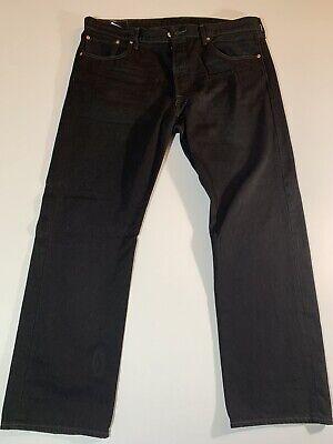 Levis Original Fit 501 Jeans 38x30 Black Straight Leg Shrink to Fit Button