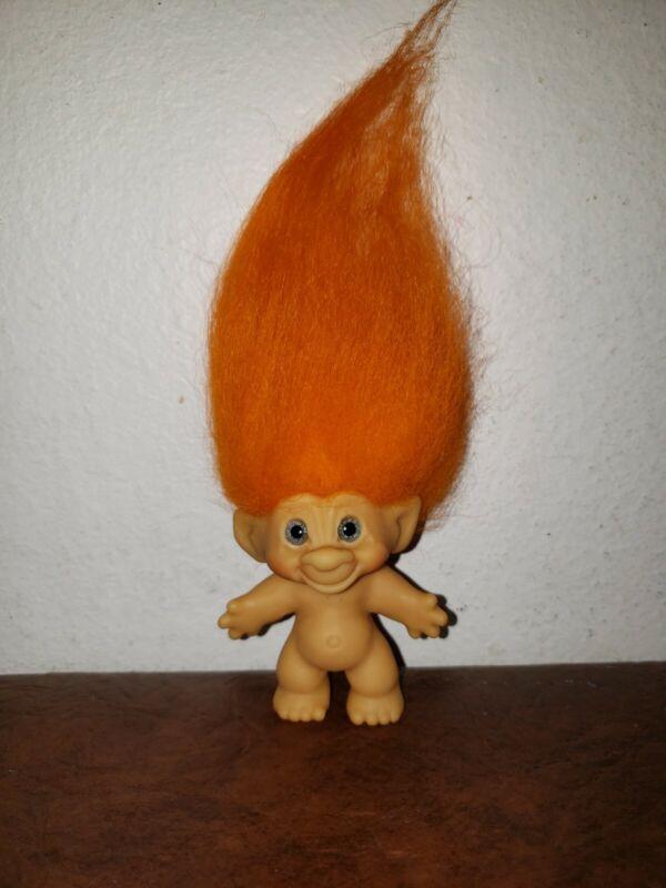 "2.5"" 1960's Scandia? Original Troll Doll spiral blue eyes new orange Mohair"