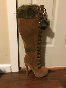 Size 8 Tall Brown Faux Suede Heeled Boots With Fur Trim