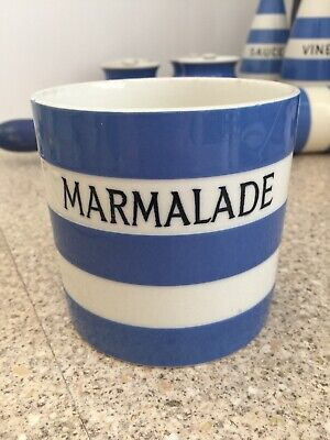 T G Green MARMALADE Jar Blue & White Vintage Black Shield