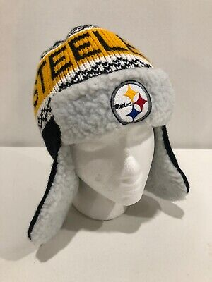 Pittsburgh Steelers Helmet Head Knit Trapper Hat NFL Team -
