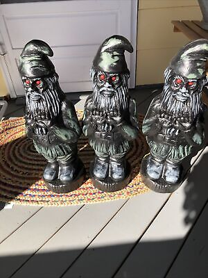 Three Lot Of Blow Mold Scary Halloween Zombie Gnome Red Eyes Union Products